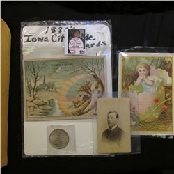 Group of 3 Iowa City, Iowa Advertising or Portrait Cards dating back to 1880 & 1923 P U.S. Peace Sil