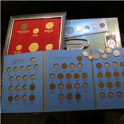 "Metal lock case (no key); 8"" x 10"" frame for type coins (no glass); 1901 Indian Cent VG; 1912 D Libe"