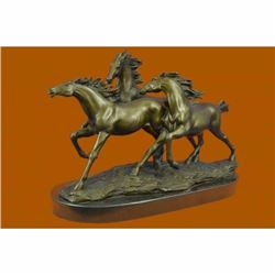 Wild Horse Galloping Mustang Ranch Bronze Sculpture on Marble Base Statue