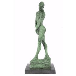 Green Patina Adam Nude Male Bronze Sculpture