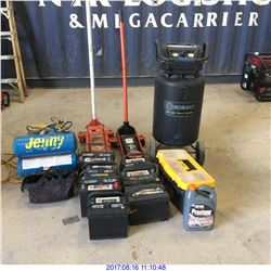AIR COMPRESSORS, FLOOR JACKS AND MISC ITEMS