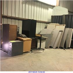 DESKS, FILE CABINET,TV AND MORE MISC ITEMS