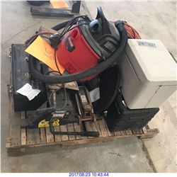 TOOL BOX,VACUUM,JACK,COMPRESSOR & MISC ITEMS.
