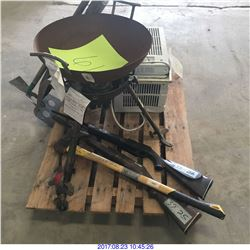 FRYING DISK,A/C WINDOW UNIT, PROPANE TANK,BB GUNS