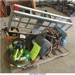 CHAIN SAW, CUTTERS, AIR TANK, COMPRESSOR, HITCH BASKET AND MORE MISC ITEMS