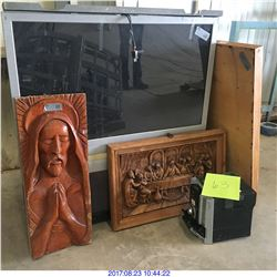 TV, MIRROR, WOOD ART FRAMES & MISC ITEM.
