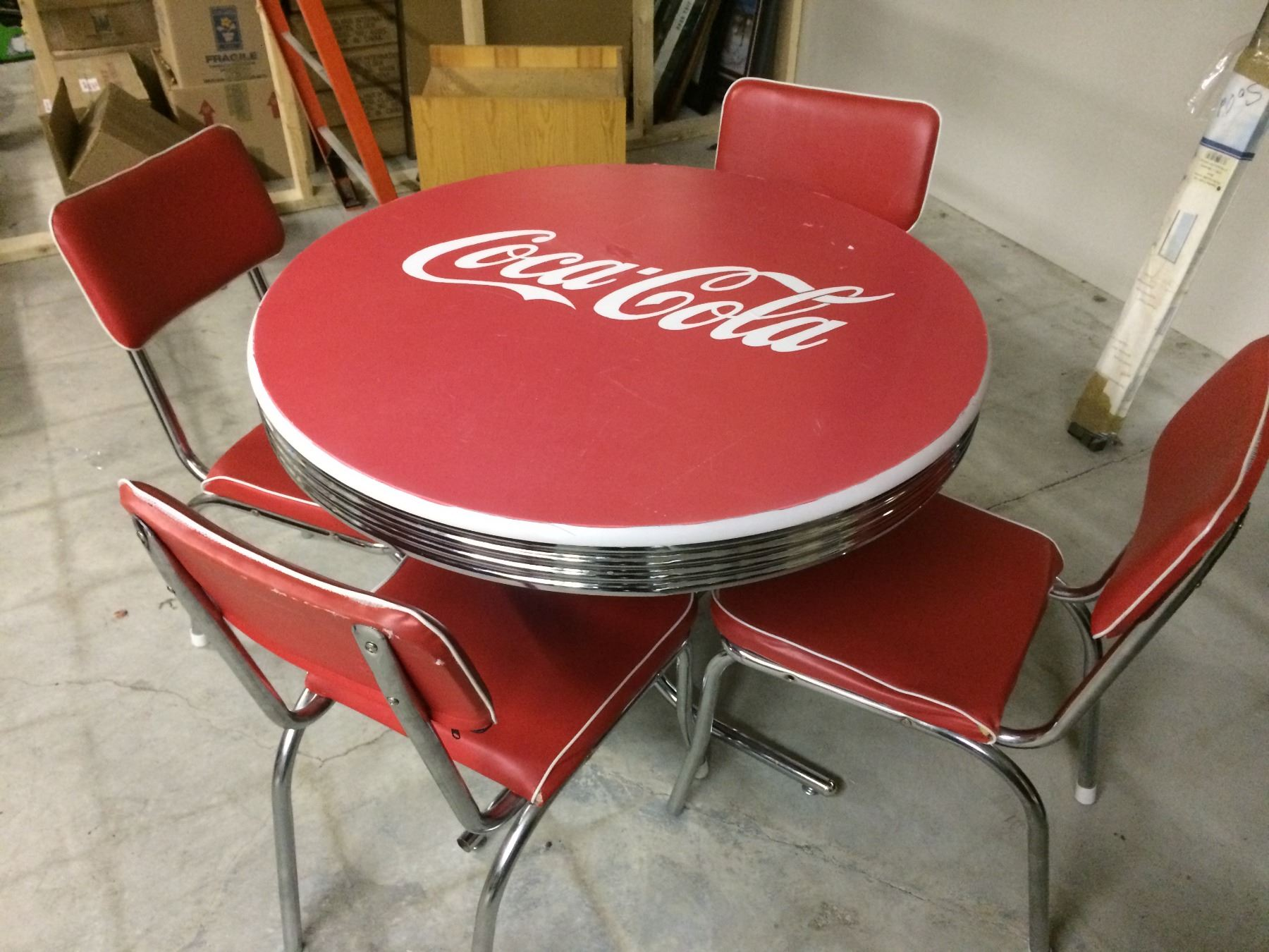 Vintage coca cola diner table w chairs - Coca cola table and chairs set ...
