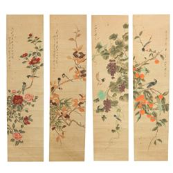 Weng Xiaohai 1790-1849 Watercolour Scroll 4 PC