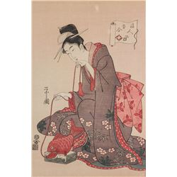 19 C. Japanese Wood Block Print on Paper Framed
