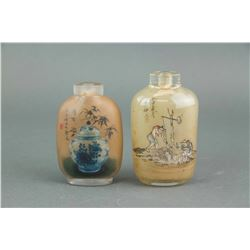 2 PC Chinese Inner Painting Snuff Bottle