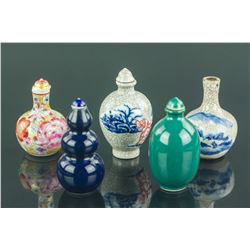 5 Pc Chinese Snuff Bottles