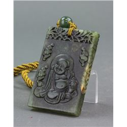 Chinese Old Green Jade Carved Happy Buddha Pendant