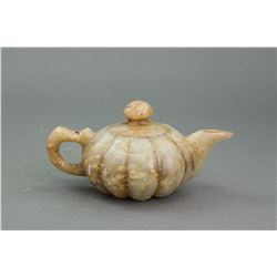 Chinese Old White Stone Carved Teapot