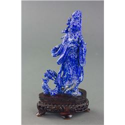 Chinese Lapis Carved Moon Goddess Statue w/ Stand