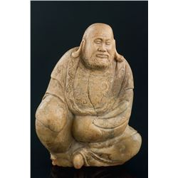 Chinese Shoushan Stone Carved Lohan with Seal