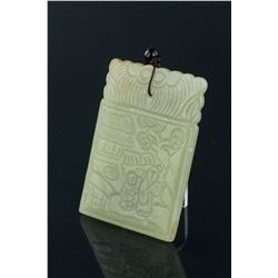 Chinese Hetian Green Jade Carved Pendant