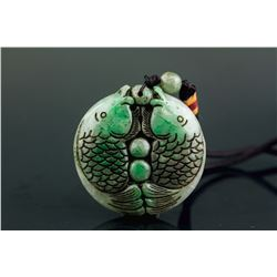 Chinese Hetian Green Jade Double Fish Pendant