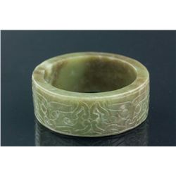 Chinese Hetian Green Jade Carved Taotie Bangle