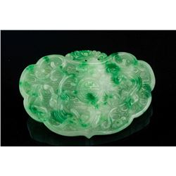 Burma Green Jadeite Carved Happiness Pendant