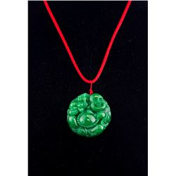 Burma Green Jadeite Carved Happy Buddha Pendant