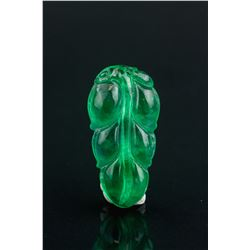 Burma Green Jadeite Carved Leaf Pendant