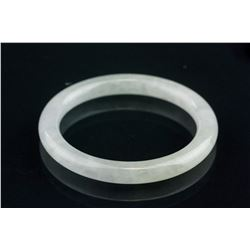 Burma Icy White Jadeite Carved Bangle