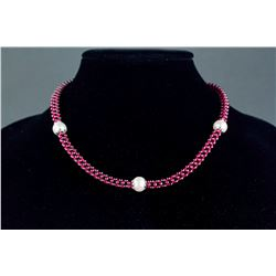 Sterling Silver Garnet & Pearl Necklace CRV$922