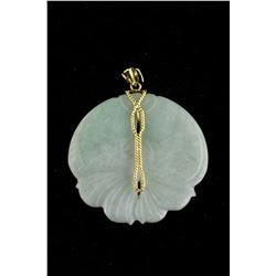14k Gold Green Jadeite Carved Double Fish Pendant