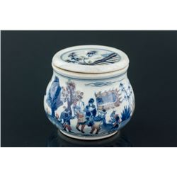 Chinese B&W CopperRed Porcelain Cricket Jar Kangxi