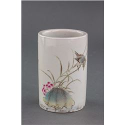 Chinese Famille Rose Porcelain Brush Pot Liu Yucen