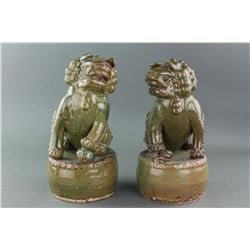 Pair Old Chinese Green Glaze Porcelain Lion Statue