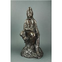 Chinese Large Bronze Guanyin 20 C.