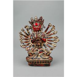 Chinese Red Lacquer Bronze Buddha
