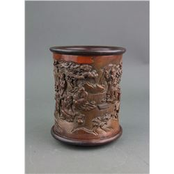 Chinese Fine Bamboo Brush Pot Signed Cai Zhao