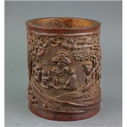Chinese Qing Period Bamboo Carved Brush Pot