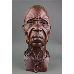 African Ironwood Carved Woman Bust Artist Signed