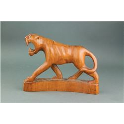 Rosewood Carved Tiger Statue