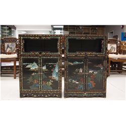 Pair of Chinese Black-lacquered Wood Cabinets