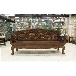 Thai Wood Sofa with Carving Decoration