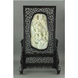 Chinese Fine White Hetian Jade Carved Screen
