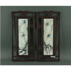 Pair of Chinese Porcelain Panels Xu Zhongnan Mark