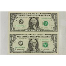 2-2-2003-A $1 FRN'S LOW CONSECUTIVE SERIAL 'S UNC