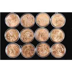 12 ASSORTED 1 OZ. COPPER ROUNDS HISTORY OF THE 12