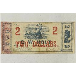 1862 G.W. HOLT NEW ORLEANS $2 OBSOLETE BANK NOTE