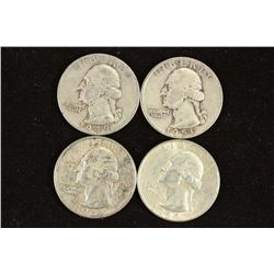 1949,51,62-D & 64 WASHINGTON SILVER QUARTERS