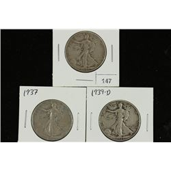 1934,37 & 39-D WALKING LIBERTY HALF DOLLARS