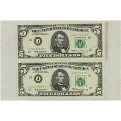 2-1969 $5 FRN'S STAR NOTES CRISP UNC