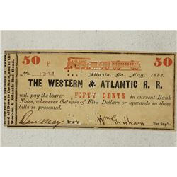 1862 WESTERN & ATLANTIC R.R. 50 CENT