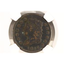 1814 PLAIN 4 LARGE CENT S-295 NGC FINE DETAILS