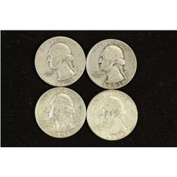 1944,53-D,57-D & 64-D WASHINGTON SILVER QUARTERS